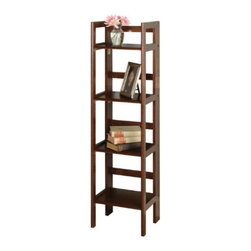Winsome Wood - Folding Shelf Narrow, 4-Tier - This folding shelf comes in three different finishes to match any space. Use it in the bathroom for your towels, in the kids room for their stuff toys or in an office for books or files. Made of Solid beechwood.