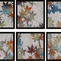 Paragon Decor - Spring Set of 6 Artwork - Dimensional leaf plaques feature a flat wood molding.