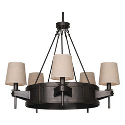 Robert Abbey - Rico Espinet Caspian Chandelier, Bronze - This incredible chandelier may don a medieval-inspired frame, yet there's nothing archaic about it. Its five sturdy arms don't bear torches, but fabulous fixtures to illuminate your space. The Dark Ages just got so much more civilized.