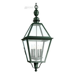 Troy Lighting - Troy Lighting Townsend Outdoor Hanging Lantern X-BN8269F - Classic lines and simple details create a historic feel to this charming Troy Lighting outdoor hanging light from the Townsend Collection. The roof and body are constructed of a clear glass, making this outdoor pendant ideal for outdoor security lighting. The Natural Bronze finish compliments the hand worked wrought iron frame, completing the look.