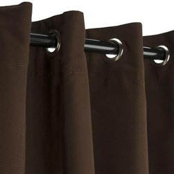 Sunbrella Outdoor Curtain with Grommets - Bay Brown - Sunbrella is a heavy-duty yet lightweight acrylic blend, resistant to staining, rot, mold and mildew, yet has a softness on par with cotton. The Grommet Top hanging style is among the most efficient, and popular, for outdoor settings, and also among the easiest to use as well.  Grommets are nickel plated.  Panels are sold as individuals with a tie back.