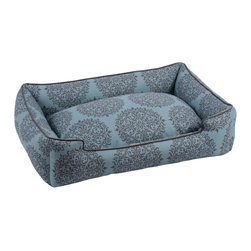 Jax & Bones - Jax & Bones Cotton Blends Lounge Bed Milan Teal Medium - The Jax and Bones cotton blends lounge bed is perfect for your dog for lazing around, snuggling, curling into, and leaning against. The warmth and extra reassurance this bed provides lets your dog remain comfortable and happy. With extremely unique range of designs, these beds are easy to maintain and made from the highest quality material especially considering we use an eco-friendly fiber called Sustainafill.  A diverse selection of heavy weight fabrics that are machine washable and luxurious to the touch. Most of these fabrics carry a texture that will create a uber luxurious upholstery feeling dog bed. Great for medium to high traffic use and homes that want a more unique design. Machine washable, low heat tumble recommended! 100% Machine Washable and filled with Sustainafill, an eco-friendly fiber.