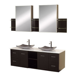 Wyndham Collection - Double Bathroom Vanity and Sink Set - Includes two black granite sinks, man-made stone top, two matching medicine cabinets with mirrors. Faucets not included. Modern wall mounted installation. Two doors, four deep doweled drawers and two open storage compartments. Fully extending side-mount drawer slides. Soft-close doors and concealed door hinges. Easy-access storage spaces. Plenty of cabinet storage space. Variable wall-mount design allows the perfect height. Ground to top of counter variable 31 - 33 in. suggested. Eight stage painting and finishing process. Metal hardware with brushed chrome finish. Warranty: Two years limited. Made from beautiful natural wood veneers over highest quality grade E1 MDF. Espresso finish. Side shelves: 8.75 in. W x 5 in. D x 12 in. H. Medicine cabinet: 18 in. W x 5.75 in. D x 30 in. H (77 lbs.). Vanity: 60 in. W x 22.25 in. D x 24.5 in. H (137 lbs.). Handling Instructions. Installation InstructionsMake a statement with the Avara double vanity and add a twist of the transitional to an otherwise modern classic.