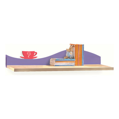 Girl Teaset Wall Shelf - A single pink teacup sits on wave of this Girl Teaset birch veneer wall shelf, ideal for hanging over the desk or changing table/dresser.