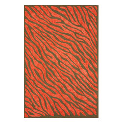 nuLOOM - Animal Prints  5'x8' Red Hand Hooked Area Rug Cotton Zebra Print - Made from the finest materials in the world and with the uttermost care, our rugs are a great addition to your home.