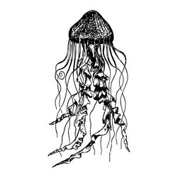 Jellyfish Wall Decal - Some wall decals may come in multiple pieces due to the size of the design.