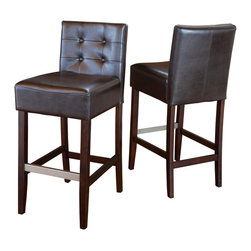 Great Deal Furniture - Gregory Brown Leather Back Stools (Set of 2), Brown Bar Height - These comfortably soft Gregory leather bar stools are a perfect transitional piece from your kitchen to your living room. Place them in your kitchen, bar or dining room and you will enjoy the look and feel of these stools.