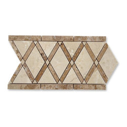 GlassTileStore - Imperial Gingersnaps Blend Border - Imperial Gingersnaps Blend Border  This marble mosaic will provide endless design possibilities from contemporary to classic.      Color: Crema Marfil and Noce   Material: Marble   Finish: Polished   Sold by the Piece - 6x12   Thickness: 10mm    - Glass Tiles -