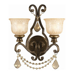 Crystorama - 2 Lights Wrought Iron Wall Sconce - Golden teak crystal draped on a wrought iron wall sconce hand painted with a amber glass pattern.