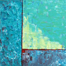 Ocean And Sunlight (Original) by Nancy Williams - The warm memories of rhythmic ocean swells, the blue-green of shallow water, the more violet shades of deeper water, plus the glow of sunlight were the inspiration for this painting.  Painted in palette knife with defined strokes, this piece has finished sides.  Canvas staples are on the back, not on the sides of the piece, and it is wired for immediate hanging.