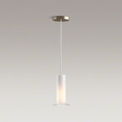 KOHLER - KOHLER Purist(R) single ceiling-mount pendant - The minimalist design of Purist faucets and accessories complements both traditional and contemporary bath environments. Suspended from the ceiling by an adjustable cable, this single pendant provides soft lighting and echoes the elegant simplicity of the Purist Collection.