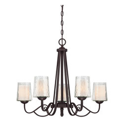 Quoizel - Quoizel ADS5005DC Adonis Transitional Chandelier - Clear, water glass surrounding another opal etched glass and a soft, clean relaxed country design makes this distinctive double glass treatment a unique collection.  A warm dark copper toned bronze finish with oval metal tubing ends with flowing scrolled arms.  The classic styling and overall look of this collection will make your home feel warm and inviting.