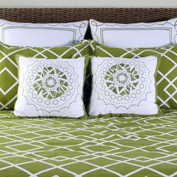 Home Decorators Collection - Modern Twist Geometric Duvet Set - Exclusively ours, the Modern Twist Geometric Duvet Set is the perfect addition to any bedroom, from the master to the guest room. Euro shams and decorative pillows include outer embroidery details. Standard and King shams feature a coordinating pattern. Twin set includes: Twin duvet with poly insert, one Euro sham, one standard sham, one decorative pillow and one bed skirt. Full/Queen set includes: Full/Queen duvet with poly insert, two Euro shams, two standard shams, two decorative pillows, and one bed skirt. King set includes: King duvet with poly insert, three Euro shams, two King shams, two decorative pillows and one bed skirt. Machine wash; separately.
