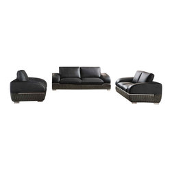 ESF - ESF 8001 Black & Grey Top Grain Italian Leather Sofa Set - The ESF 8001 sofa set is a great addition for any living room that needs a touch of modern design. This sofa set comes upholstered in a beautiful black and grey top grain Italian leather. The bottom trim of each piece is upholstered in a two-tone black and grey leather with a stylish pattern. High density foam is placed within the cushions for added comfort. Only solid wood products were used when crafting the frame making the sofa a very durable piece.