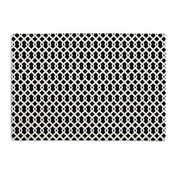 Black Small Geometric Custom Placemat Set - Is your table looking sad and lonely? Give it a boost with at set of Simple Placemats. Customizable in hundreds of fabrics, you're sure to find the perfect set for daily dining or that fancy shindig. We love it in this black & white mazelike lattice.  a little pizazz will go a long way.
