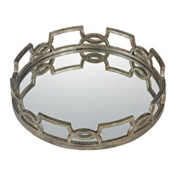 """Sterling Industries - Iron Scroll Mirrored Tray - 20"""" diameter this mirrored tray is set in a free form iron frame and finished in deep silver tones. Perfect for decorative displays and placing decanters on, the tray is striking and functional. A 16"""" version is also available."""