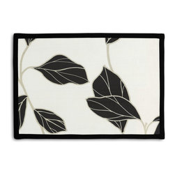 Black & White Modern Leaf Tailored Placemat Set - Class up your table's act with a set of Tailored Placemats finished with a contemporary contrast border. So pretty you'll want to leave them out well beyond dinner time! We love it in this black & white leaf motif with graphic modern flare.