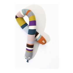 """ferm LIVING - FERM LIVING 8020 Cotton Cover Mr. Snake - A newcomer to Ferm Livings kids collection is Mr. Snake. A nice and soft friend that works really well as a bed bumper - or even just as a stuffed toy. He is made of 100% cotton and filled with a soft luxury filling. Material: 100% Cotton Cover. Length: 71"""". Filling: Fossflakes."""