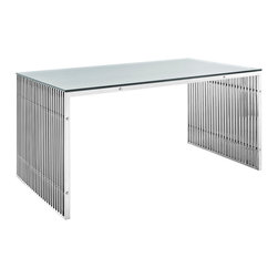 LexMod - Gridiron Stainless Steel Dining Table in Silver - The conduit design of this Gridiron series installment artfully blends stainless steel tubing with a tempered glass table top. Modernism used to be about extremes. Wild shapes and patterns that don't dare resemble its predecessors. We've reached an age of maturity of sorts. We appreciate style, but all the more, we respect those designs that represent a blending of cultures. The Gridiron stainless steel office desk is famous not for its radical shape, but for the strategic transcendence that it provides.