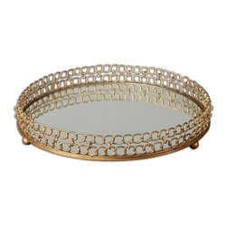 Matthew Williams - Matthew Williams Dipali Transitional Tray X-70891 - Made of gold leaf metal with a mirror base.