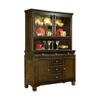 ivgStores Furniture - 2 Pc Wood Buffet & China Cabinet - The striking design of this two-piece buffet set will make it a gorgeous focal point in your dining room. The set is made of hardwoods and veneer in a dark brown finish and is enhanced by nickel tone round hardware. Dual lights in the hutch allows your most treasured pieces of china to be beautifully showcased. Set includes Buffet and China. Color/Finish: Dark Brown. Made with select veneers and hardwood solids. Felt drawer bottoms. Concave drawer and profile detail. Antique nickel color hardware. Counter height table features under the table storage with wine glass holders and bottle support bars. Buffet: 52 in. W x 20 in. L x 38 in. H. China: 52 in. W x 15 in. L x 40 in. H