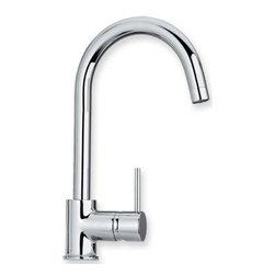 Whitehaus Collection - Polished Chrome Whitehaus WHLX78572 Modern Gooseneck Spout Single Lever Kitchen - Modern gooseneck kitchen faucet with single lever control. Fancy Italian