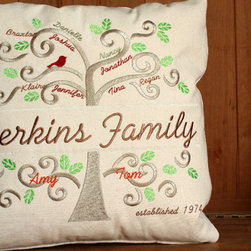 Family Tree Wall Art | 14 x 12 inches | Fits up to 34 Names - Family Tree Pillow or Wall Art. Your beautifully embroidered Family Tree gallery wrapped canvas artwork will become a cherished family heirloom. This canvas artwork has been gallery wrapped for you and is ready to be put on display.