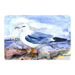 Caroline's Treasures - Bird - Thayer's Gull Kitchen or Bath Mat 24 x 36 - Kitchen or Bath Comfort Floor Mat This mat is 24 inch by 36 inch. Comfort Mat / Carpet / Rug that is Made and Printed in the USA. A foam cushion is attached to the bottom of the mat for comfort when standing. The mat has been permanently dyed for moderate traffic. Durable and fade resistant. The back of the mat is rubber backed to keep the mat from slipping on a smooth floor. Use pressure and water from garden hose or power washer to clean the mat. Vacuuming only with the hard wood floor setting, as to not pull up the knap of the felt. Avoid soap or cleaner that produces suds when cleaning. It will be difficult to get the suds out of the mat.