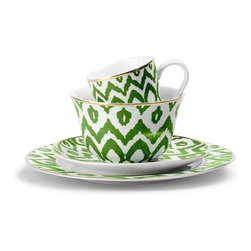 Green Ikat Dinnerware - Teatime turns chic with these bright ikat cups and saucers.