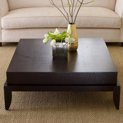 "Abbyson Living - Adams Morgan Coffee Table - The Adamas Morgan living room series is sure to make a stylish statement in any modern or transitional setting. With chick designed details that are both modern and elegant, the table is as beautiful as it is unique. Designed with a low profile, the clean espresso finish will complement any d cor. Features: -Spacey and convenient square design.-Elegant leg turn.-Square shape.-Solid oak hardwood construction.-Dark espresso finish.-Rich hand applied finish.-Adam''s Morgan collection.-Collection: Adam's Morgan.-Distressed: No.Dimensions: -Dimensions: 18'' H x 40''Sq.-Overall Product Weight: 50 lbs.-Overall Height - Top to Bottom: 18"".-Overall Width - Side to Side: 40"".-Overall Depth - Front to Back: 40""."