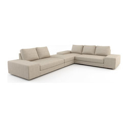 Viesso - Strata L Chaise Sectional 1 (Eco-Friendly) - Sometimes bigger is better. The Strata is our most popular sofa design. It has a very modern look and with the deep frame embodies what it means to have a loungy sectional sofa. It's the perfect modern sofa for lounging around, watching a film, entertaining or taking a quick nap. Low, wide arms invite additional guests to sit, can be hallowed out for storage, and are the ideal surface for a laptop or your glass of wine. Please note that if needed, the Strata sectional and its pieces can be made in any size to the inch to fit your space perfectly.