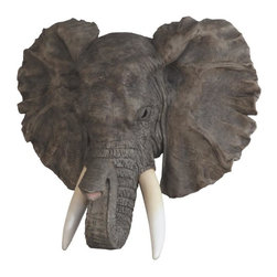 GSC - 19.75 Inch Grey Elephant White Tusks Wall Plaque - This gorgeous 19.75 Inch Grey Elephant White Tusks Wall Plaque has the finest details and highest quality you will find anywhere! 19.75 Inch Grey Elephant White Tusks Wall Plaque is truly remarkable.