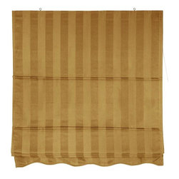 Oriental Furniture - Striped Roman Shades - Gold - (36 in. x 72 in.) - A lovely gold colored retractable fabric window blind, easy to install and to operate. Roman style window treatments are installed on the wood frame to overhang the window opening, not fitted to the inside of the window frame. Inexpensive, attractive fabric window shades.