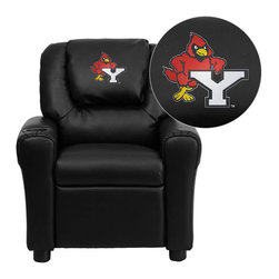 """Flash Furniture - York College Cardinals Black Leather Kids Recliner with Cup Holder and Headrest - Get young kids in the college spirit with this embroidered college recliner. Kids will now be able to enjoy the comfort that adults experience with a comfortable recliner that was made just for them! This chair features a strong wood frame with soft foam and then enveloped in durable leather upholstery for your active child. This petite sized recliner is highlighted with a cup holder in the arm to rest their drink during their favorite show or while reading a book. York College Embroidered Kids Recliner; Embroidered Applique on Oversized Headrest; Overstuffed Padding for Comfort; Easy to Clean Upholstery with Damp Cloth; Cup Holder in armrest; Solid Hardwood Frame; Raised Black Plastic Feet; Intended use for Children Ages 3-9; 90 lb. Weight Limit; CA117 Fire Retardant Foam; Black LeatherSoft Upholstery; LeatherSoft is leather and polyurethane for added Softness and Durability; Safety Feature: Will not recline unless child is in seated position and pulls ottoman 1"""" out and then reclines; Safety Feature: Will not recline unless child is in seated position and pulls ottoman 1"""" out and then reclines; Overall dimensions: 24""""W x 21.5"""" - 36.5""""D x 27""""H"""