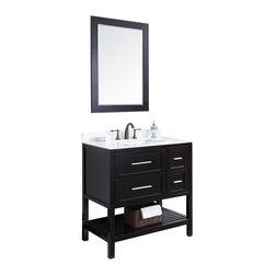 Eviva - Natalie Fabrico Bathroom Vanity, Espresso, 36, With Mirrors - Classic yet elegantly modern, the Natalie Fabrico bathroom vanity is a bold statement and a meaningful centerpiece for any bathroom. Inspired by the contemporary American design ethic and crafted without compromise, these vanities are designed to complement any decor, from traditional to minimalist modern.