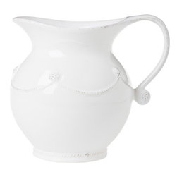 "Juliska - Juliska Berry and Thread Small Pitcher Whitewash - Juliska Berry and Thread Sm. Pitcher Whitewash. With a curvaceous silhouette and rustic charm this small pitcher is country chic. Fill it with cream, fresh juice, or handfuls of tea roses. Dimensions: 7"" H Capacity: 1.5 Qt"