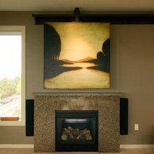 Shop Sliding Doors Above Fireplace To Hide Flatscreen Tv
