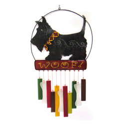 Blue Handworks - Scotty Woof Wind Chime - Colorful sandblasted hand cut chimes in bone shapes and bars hang from hand painted powder coated metal frame. Sturdy nylon strings. Handcrafted by artisans in Bali.