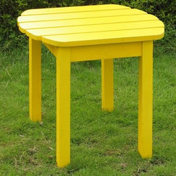 International Concepts Canary Yellow Adirondack Table - Bright and happy the Canary Yellow Adirondack Table will cheer you all summer long and then some. The strong and stable table is sized to hold your favorite drink crossword and breezy summer novel and whatever else you need at your fingertips to successfully do absolutely nothing in the sun. It's the right height for a lazy reach from your matching Adirondack chair. Skip the coaster if you want because the genuine sun-loving poplar hardwood sanded silky smooth and generously coated in hard polyurethane-based paint is built for the outdoors. Assembles easily in minutes with quality rust-resistant brass and stainless steel hardware all included. The durable waterproof finish cleans easily with a wipe of mild soap and water.