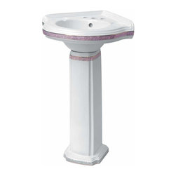 Renovators Supply - Pedestal Sinks White Vitreous China, Portsmouth Pedestal Rose Painted - Renovator's Supply Corner Sinks. Corner Portsmouth Rose Pedestal Sinks: Our space-saving Portsmouth Corner Sink has a wall mount design with a pedestal for extra support and a distinctive stylish touch. Faucet not included.