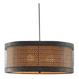 Uttermost New Orleans 3 Light Drum Pendant - Metal filigree with detailed banding finished in a semi matte black with rust antiquing holds the separate interior shade of silken warm beige fabric. Frosted glass diffuser included. Metal filigree with detailed banding finished in a semi matte black with rust antiquing holds the separate interior shade of silken warm beige fabric. Frosted glass diffuser included.