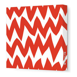 "Avalisa - Pattern - Zig Zag Stretched Wall Art, 28"" x 28"", Red -"