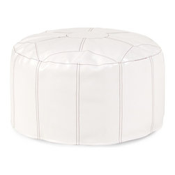 Howard Elliott - Avanti Foot Pouf Ottoman - Our Pouf Foot Ottomans are a great add on to any decor. They work as a foot rest or extra seating. They are filled with polyester fiber & recycled EPS filler. Cover is 100% polyurethane faux leather and removable for easy care.