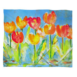 DENY Designs - Laura Trevey Spring Tulips Fleece Throw Blanket - This DENY fleece throw blanket may be the softest blanket ever! And we're not being overly dramatic here. In addition to being incredibly snuggly with it's plush fleece material, it's maching washable with no image fading. Plus, it comes in three different sizes: 80x60 (big enough for two), 60x50 (the fan favorite) and the 40x30. With all of these great features, we've found the perfect fleece blanket and an original gift! Full color front with white back. Custom printed in the USA for every order.