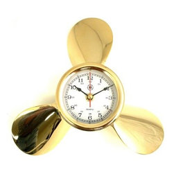 Bey-Berk International Brass Propeller Clock - Tarnish Proof - The Bey-Berk International Brass Propeller Clock T.P. is a smart gift for the seasoned skipper. Glossy brass propeller blades surround the analog quartz-movement clock. This timepiece will look great in a home, office, or aboard your vessel. About Bey-Berk InternationalThis quality item is created by Bey-Berk. For more than 20 years, Bey-Berk International has crafted and hand-selected unique gifts and accessories from around the world to meet the demands of discerning customers. With its line of elegant and distinctive products, Bey-Berk has established itself as a leader in luxury accessories.