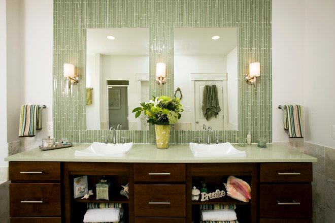 Transitional Bathroom by John F. Heltzel AIA Architects