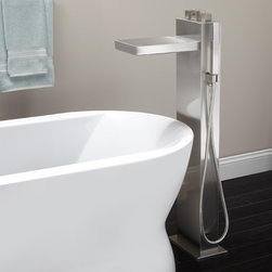 Grotto Freestanding Thermostatic Waterfall Tub Faucet - Enjoy a calming effect as water cascades from the Grotto Freestanding Thermostatic Tub Faucet. Boldly designed, this faucet is ideal for a modern master bath.