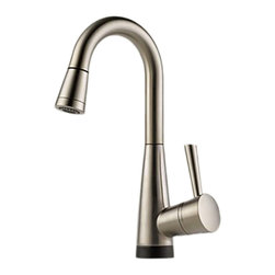 Brizo - Brizo 64970LF-SS Venuto Stainless Steel Pull-Down Bar/Prep Faucet - The Brizo 64970LF-SS is a one handle pull-down bar/prep faucet with Smart-Touch from Brizo's Venuto design suite featuring sleek, European inspired lines, and comes in a Stainless Steel finish.