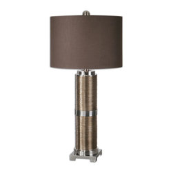 Uttermost - Uttermost Colobert Copper Bronze Lamp 26179-1 - Textured base finished in a metallic copper bronze accented with polished nickel plated details. The round hardback drum shade is a chocolate linen fabric with light slubbing.