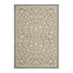 """Safavieh - Courtyard Gray/Brown Area Rug CY2098-3606 - 8'11"""" x 12' RECTANGLE - Safavieh takes classic beauty outside of the home with the launch of their Courtyard Collection. Made in Belgium with enhanced polypropylene for extra durability, these rugs are suitable for anywhere inside or outside of the house. To achieve more intricate and elaborate details in the designs, Safavieh used a specially-developed sisal weave."""
